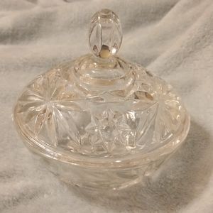 Cut Glass Dish with Lid With Flower & Star Pattern